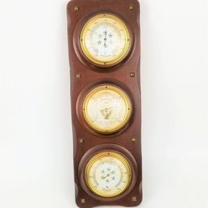 Vtg Jason Wooden Barometer Thermometer Humidity
